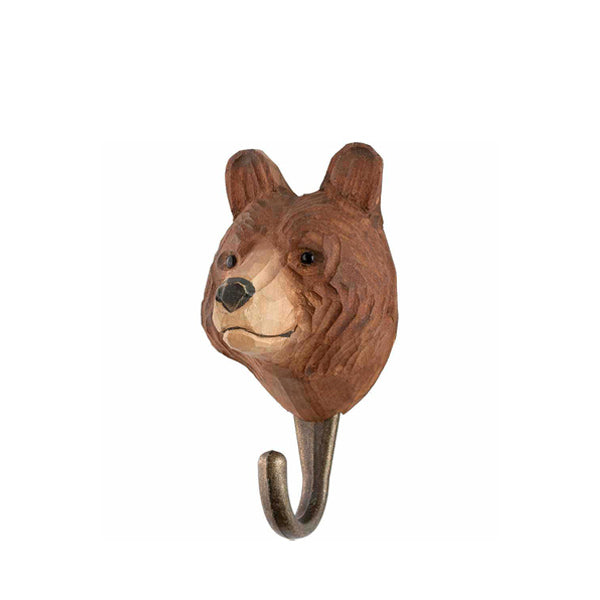 Wildlife Garden Hand Carved Animal Hook - Brown Bear