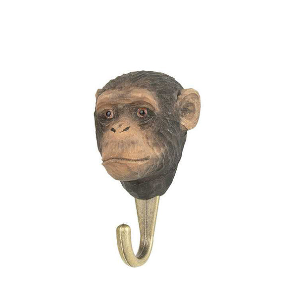 Wildlife Garden Hand Carved Animal Hook - Chimpanzee