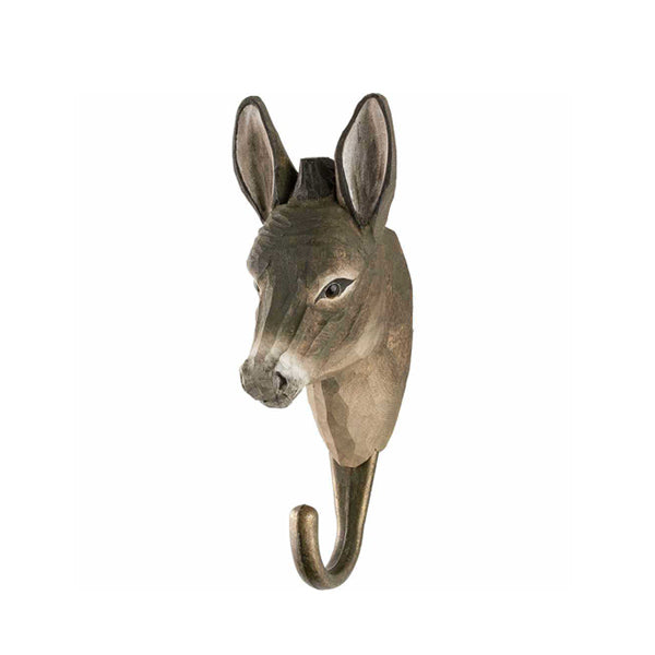 Wildlife Garden Hand Carved Animal Hook - Donkey