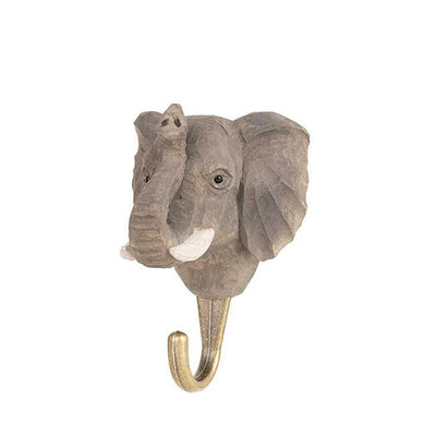 Wildlife Garden Hand Carved Animal Hook - Elephant