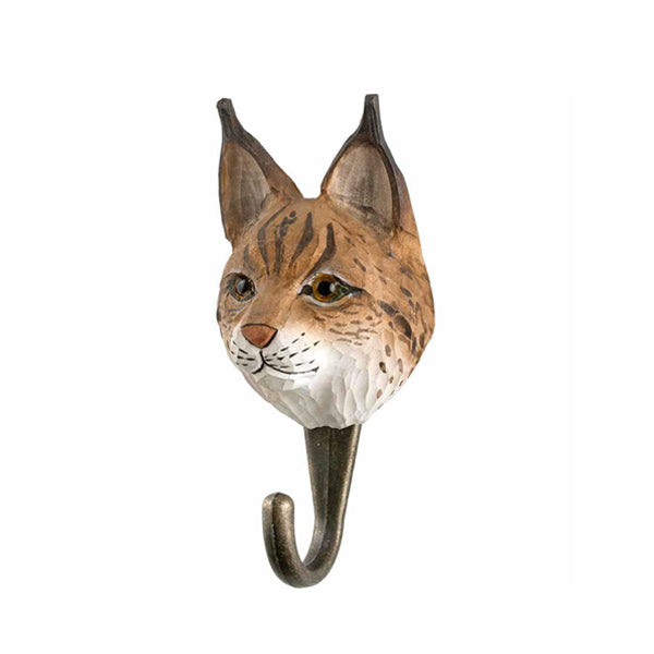 Wildlife Garden Hand Carved Animal Hook - Euroasian Lynx