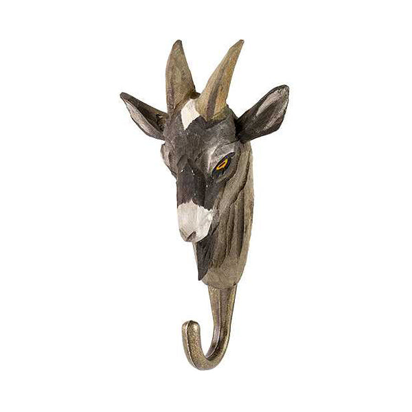 Wildlife Garden Hand Carved Animal Hook - Goat