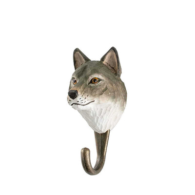 Wildlife Garden Hand Carved Animal Hook - Grey Wolf