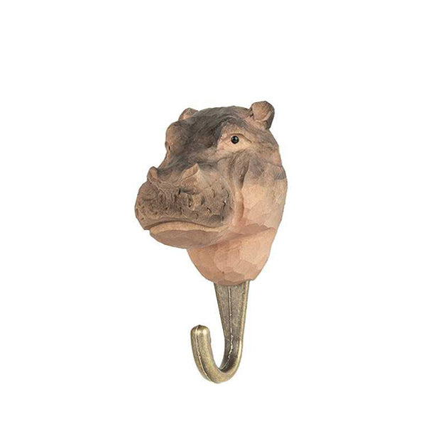 Wildlife Garden Hand Carved Animal Hook - Hippopotamus