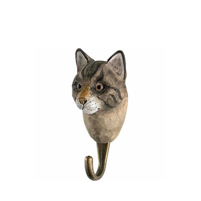 Wildlife Garden Hand Carved Animal Hook - House Cat