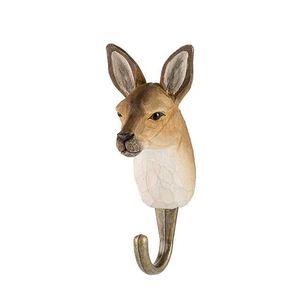 Wildlife Garden Hand Carved Animal Hook - Kangaroo