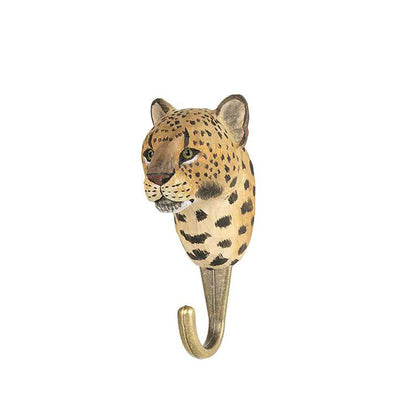 Wildlife Garden Hand Carved Animal Hook - Leopard