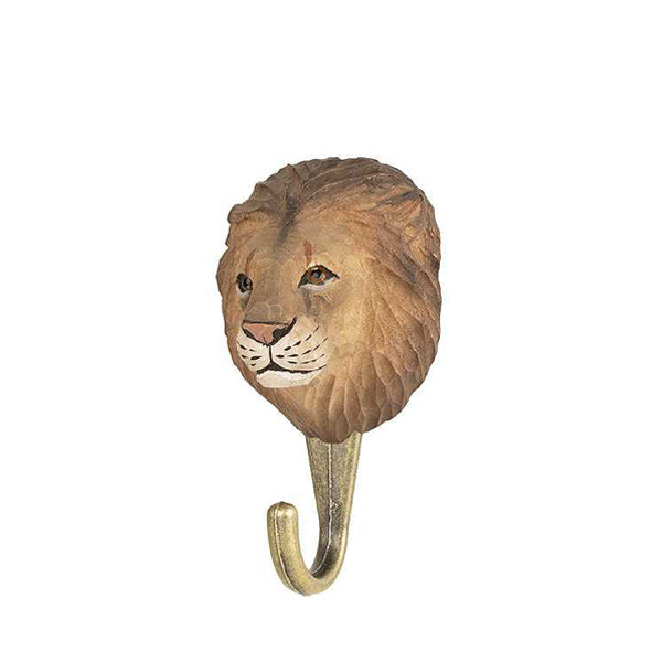 Wildlife Garden Hand Carved Animal Hook - Lion
