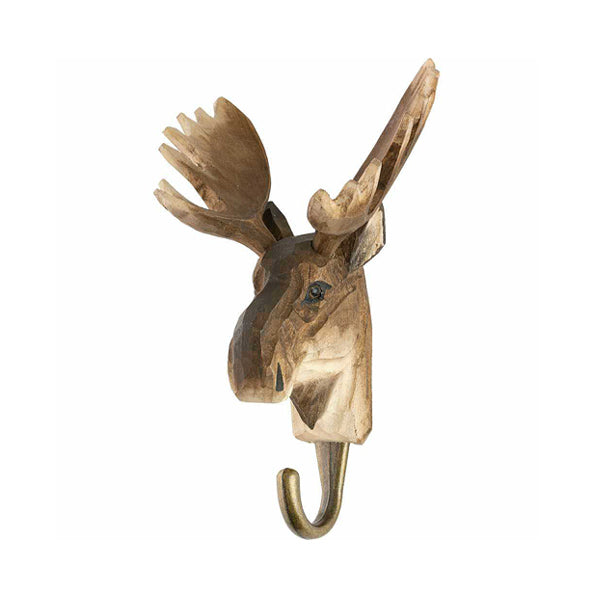 Wildlife Garden Hand Carved Animal Hook - Moose