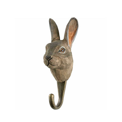 Wildlife Garden Hand Carved Animal Hook - Mountain Hare