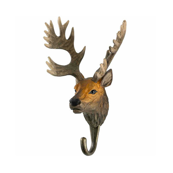 Wildlife Garden Hand Carved Animal Hook - Red Deer