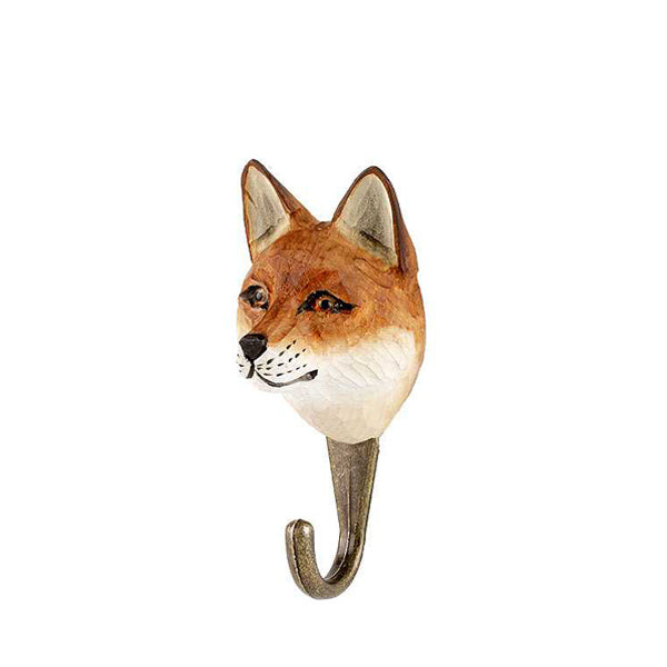 Wildlife Garden Hand Carved Animal Hook - Red Fox