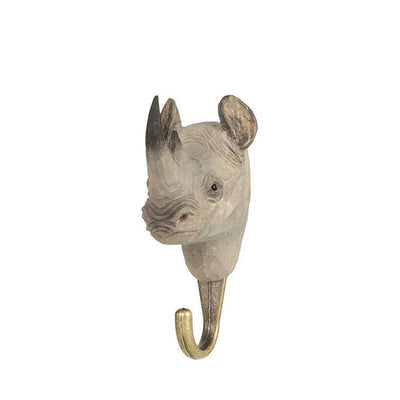 Wildlife Garden Hand Carved Animal Hook - Rhino