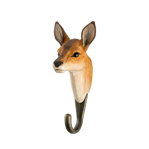 Wildlife Garden Hand Carved Animal Hook - Roe Deer