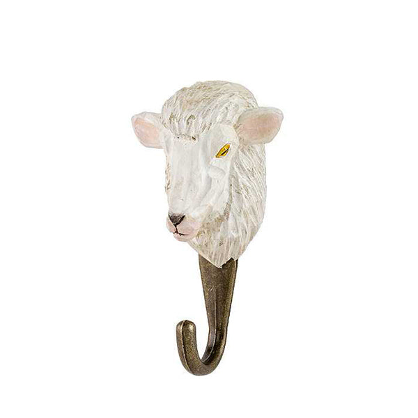Wildlife Garden Hand Carved Hook - Sheep