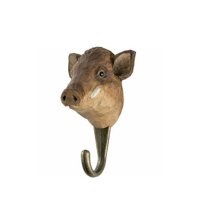 Wildlife Garden Hand Carved Hook - Wild Boar