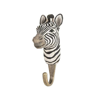 Wildlife Garden Hand Carved Hook - Zebra