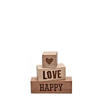 Wooden Story Message Blocks – Happy Love