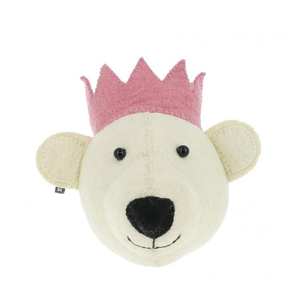 Fiona Walker Mini Animal Head – White Bear with Pink Crown