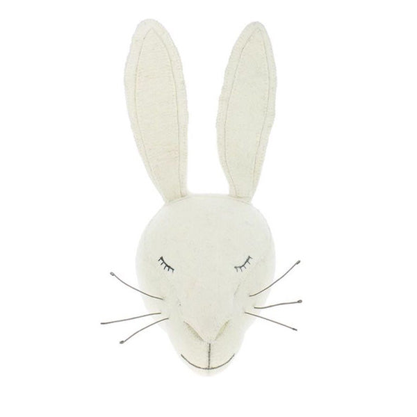 Fiona Walker Animal Head - Sleepy White Rabbit