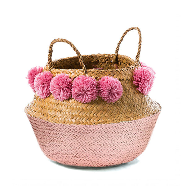 Pom Pom Seagrass Belly Basket – Pink