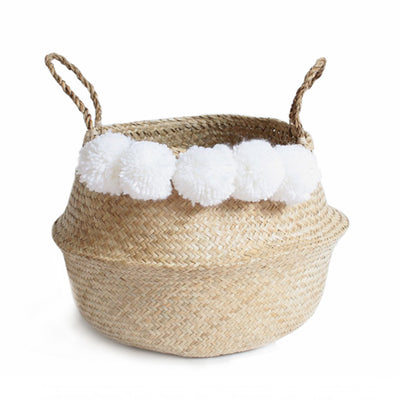 Pom Pom Seagrass Belly Basket – White