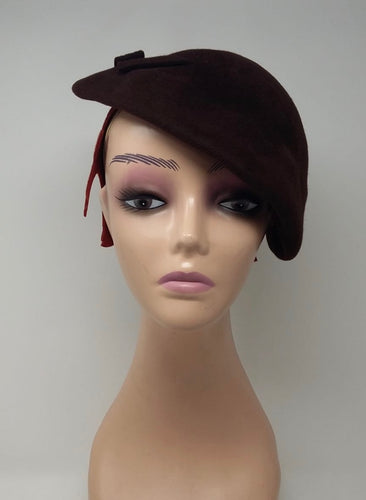1950s brown beret/cap