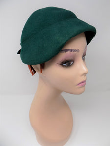 Green Velvet Felt True Vintage Hat 1950's