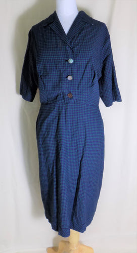 Volup 1940's Day Dress Blue Green
