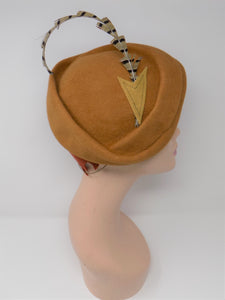 Side Pleat Tilt Dijon Felt Hat