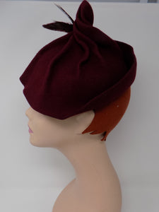 Shelly Burgandy 1930s/40s style tilt hat