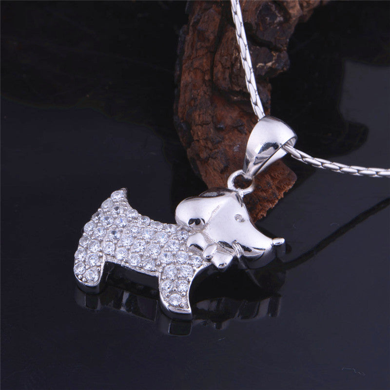 Brilliant Silver Necklace With Puppy Pendant