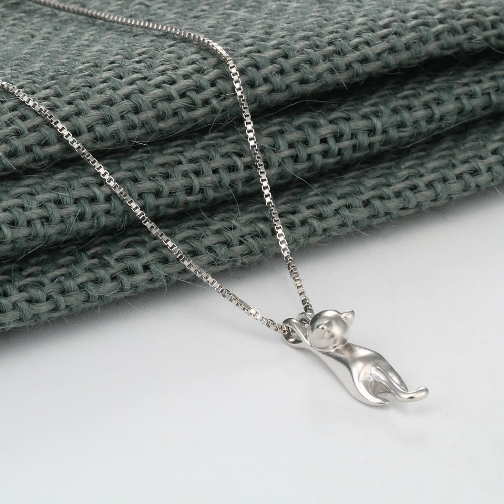 Sterling Silver Hanging Cat Pendant with Necklace