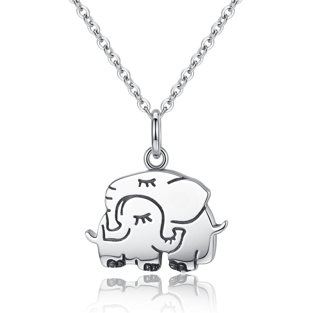 Sterling Silver Embracing Elephant Necklace