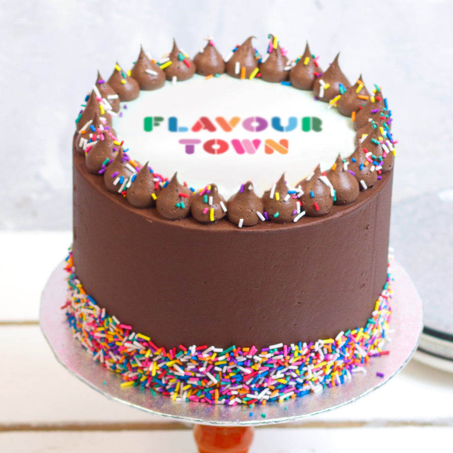 Chocolate Rainbow Logo Cake