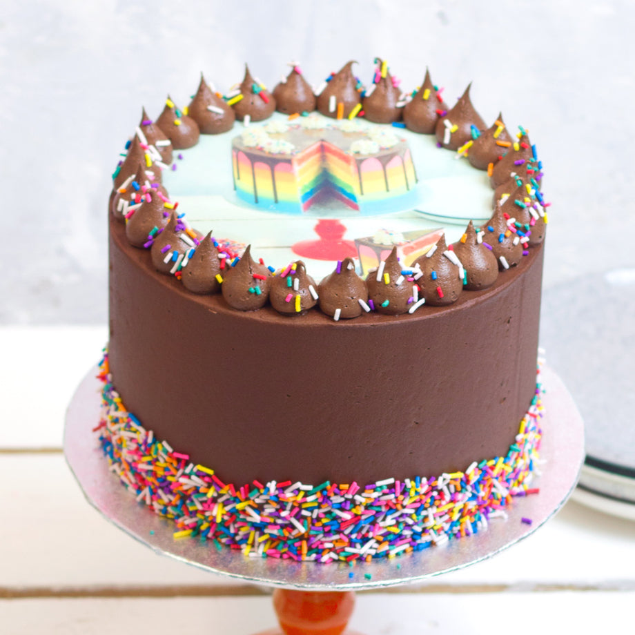 Chocolate Rainbow Photo Cake