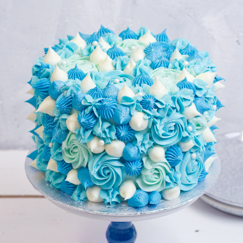 Swirl Piped Ombre Blue Cake