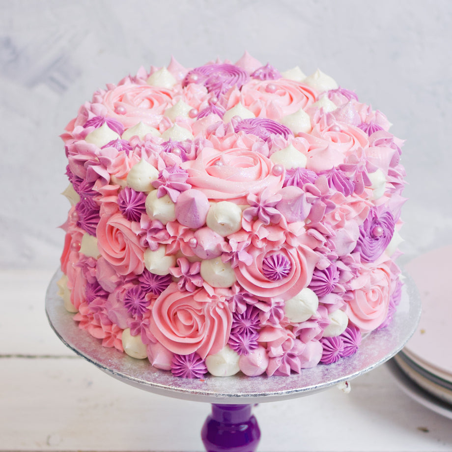 Swirl Piped Ombre Pink Cake