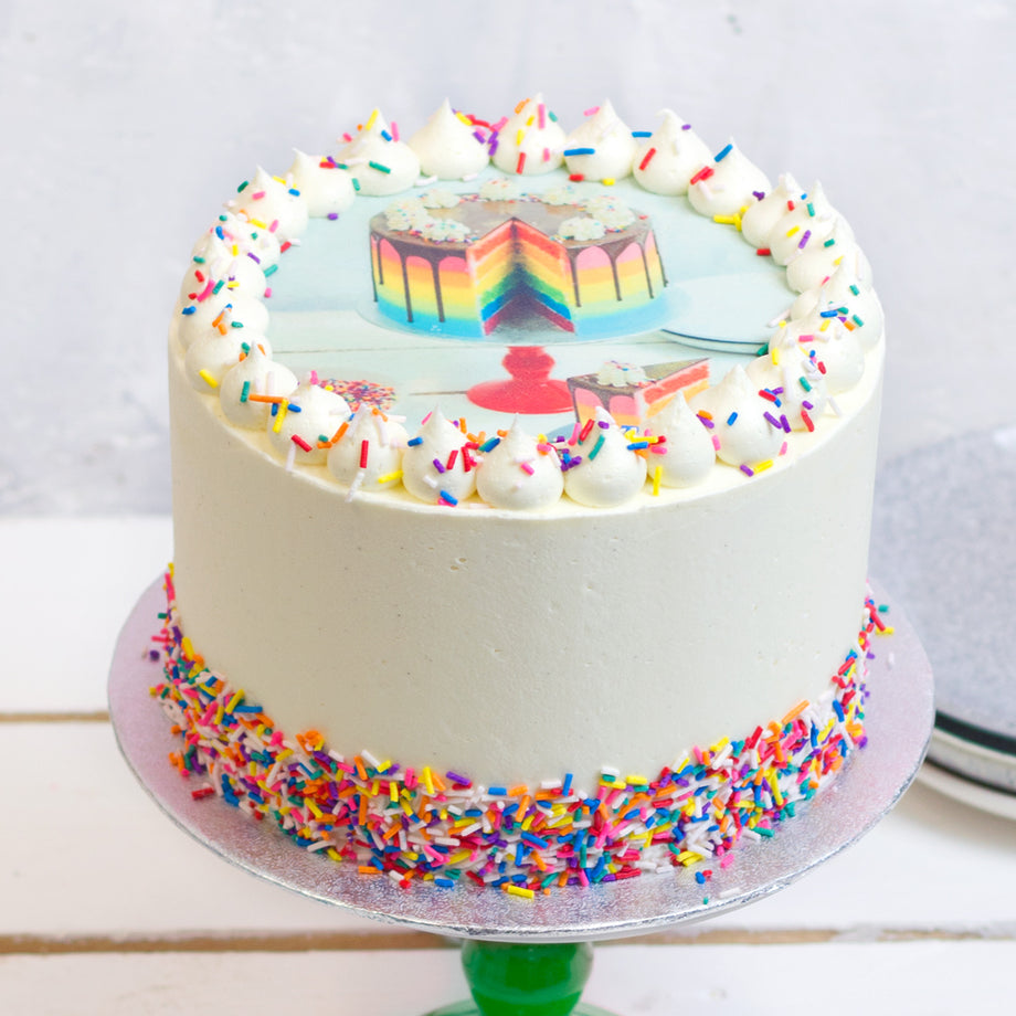 Vanilla Rainbow Photo Cake