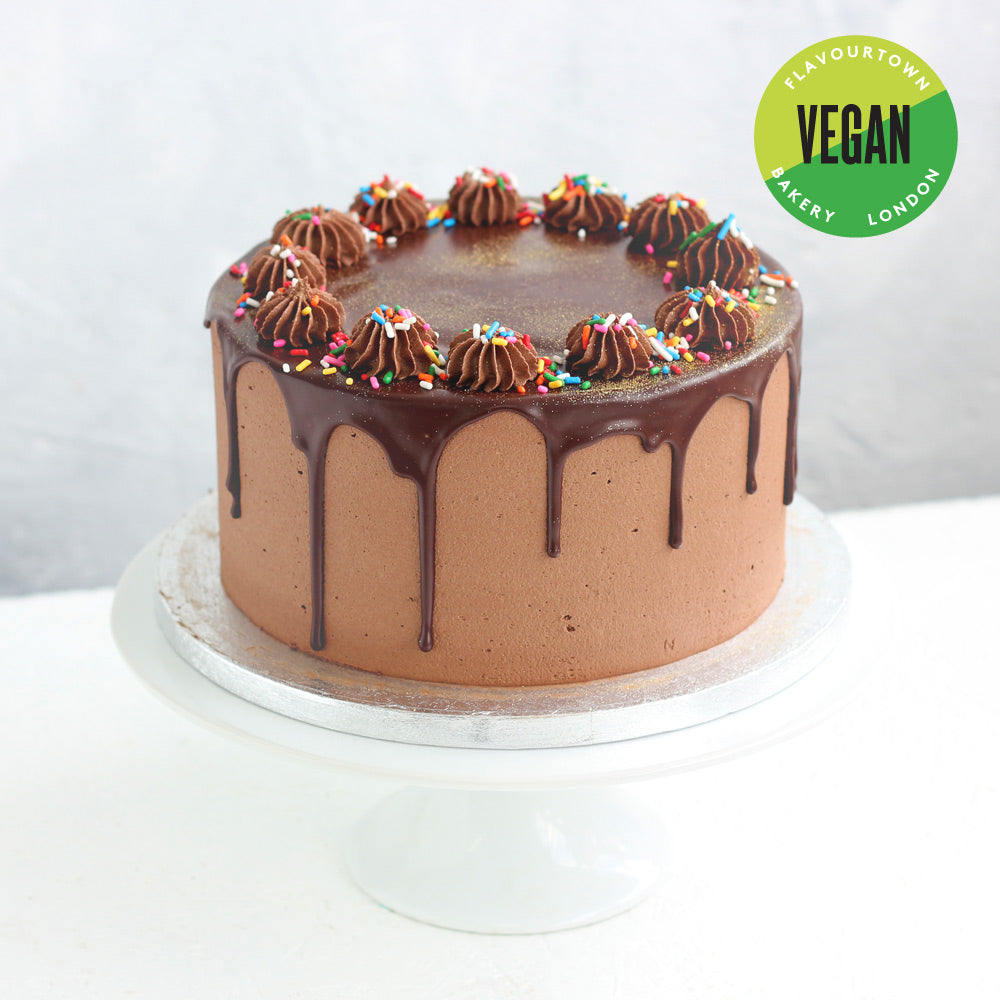 Fantastic Vegan Chocolate Birthday Cake Flavourtown Bakery Personalised Birthday Cards Paralily Jamesorg