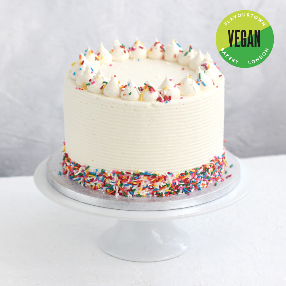 Marvelous Vegan Vanilla Birthday Cake Flavourtown Bakery Personalised Birthday Cards Paralily Jamesorg