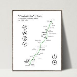 hiking trail map-hiking map-gift for hiker
