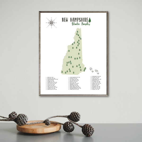 new hampshire state parks map poster-hiking gift ideas