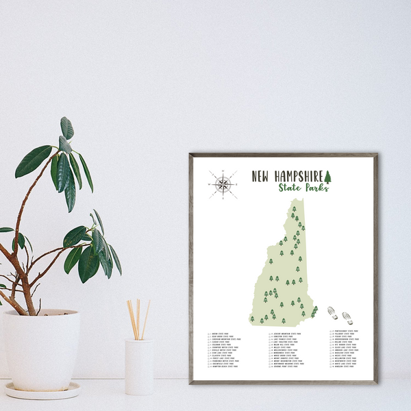 new hampshire state parks map print-gift for adventurer