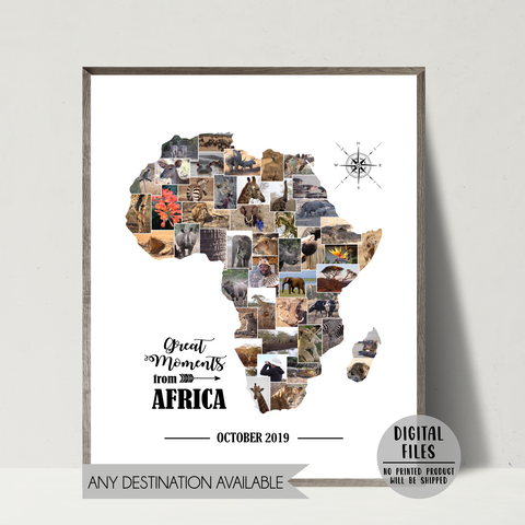 personalized travel photo collage-africa collage-map photo collage