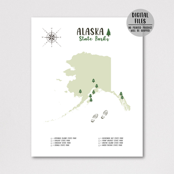alaska state parks map-adventure map-gift for hiker