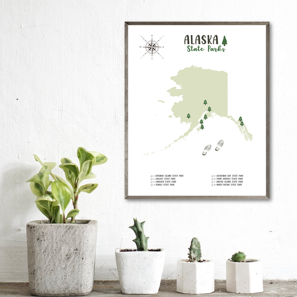 alaska state parks map-gift for adventurer