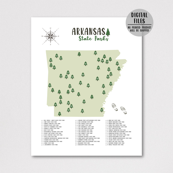arkansas state parks map poster