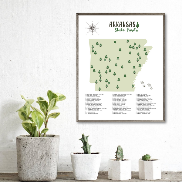 arkansas state parks map-gift for traveler-adventure map