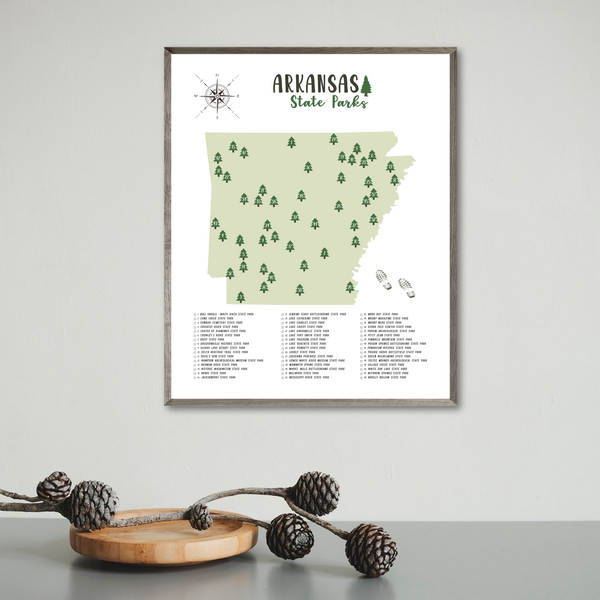 arkansas state parks map print-gift for adventurer